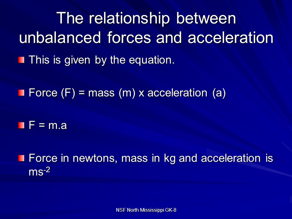 describe qualitatively the relationship between force mass and acceleration