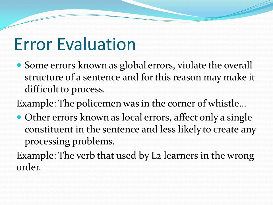 Error Evaluation