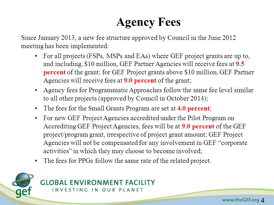 Agency Fees Since January 2013, a new fee structure approved by Council in the June 2012 meeting has been implemented: