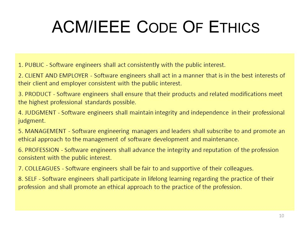 acm code of ethics Using the new acm code decision of ethics in making h ~storically, profcbsional db- sociations have viewed codes of ethics as mecha- nisms to establish their sta- tus as a profession or as a.