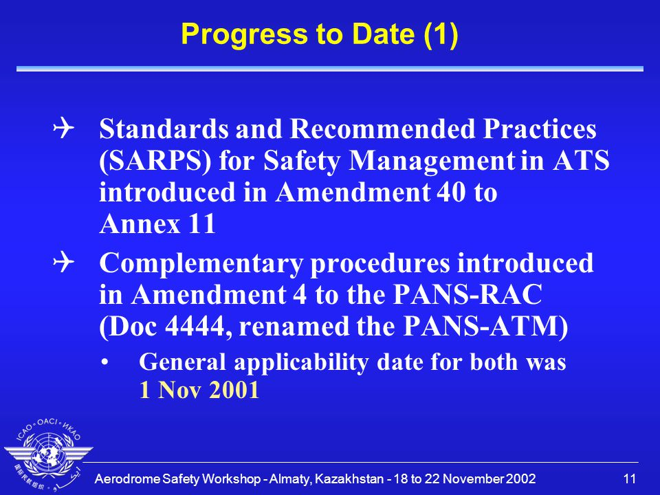 Progress to Date (1) Standards and Recommended Practices (SARPS) for Safety Management in ATS introduced in Amendment 40 to Annex 11.