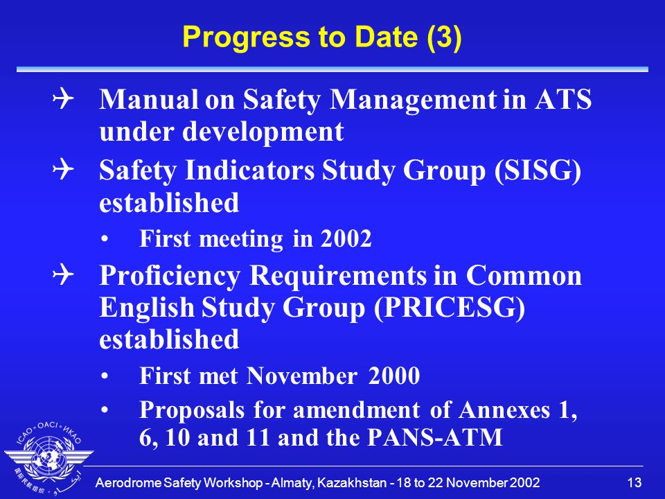 Manual on Safety Management in ATS under development
