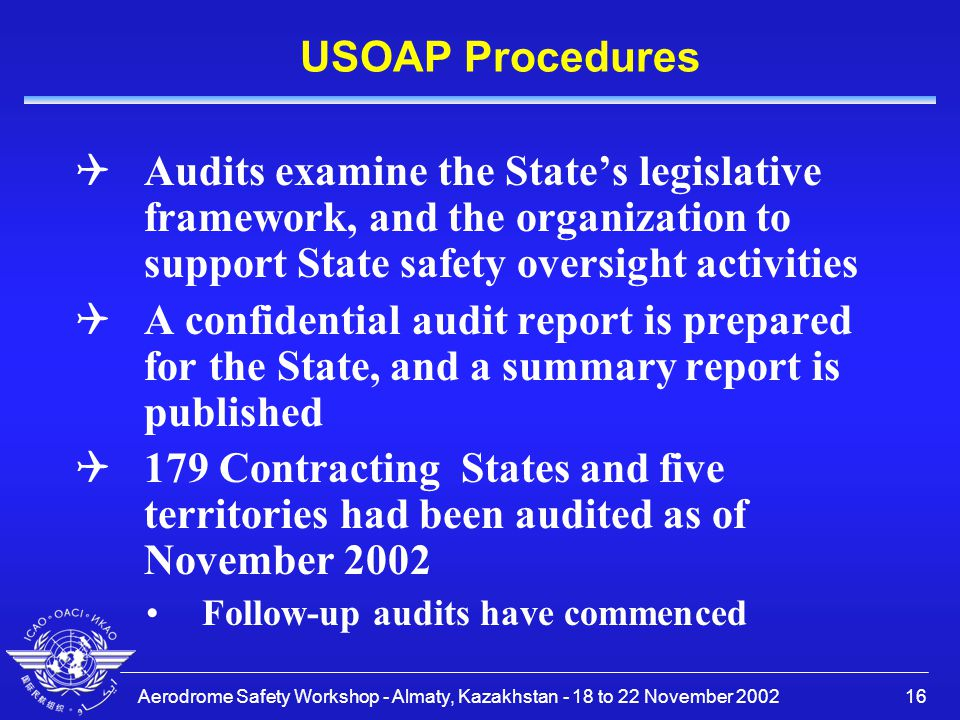USOAP Procedures Audits examine the State's legislative framework, and the organization to support State safety oversight activities.