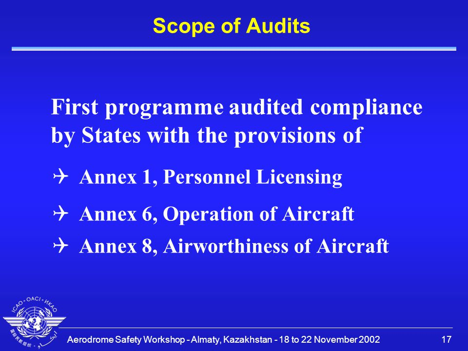 First programme audited compliance by States with the provisions of