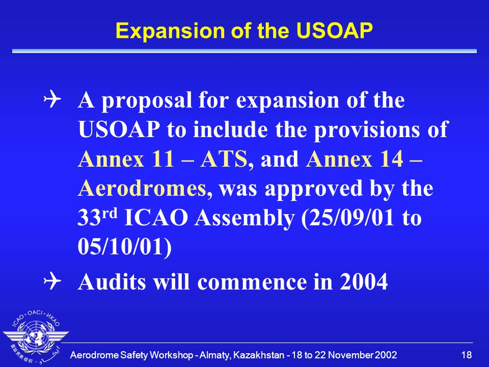 Audits will commence in 2004