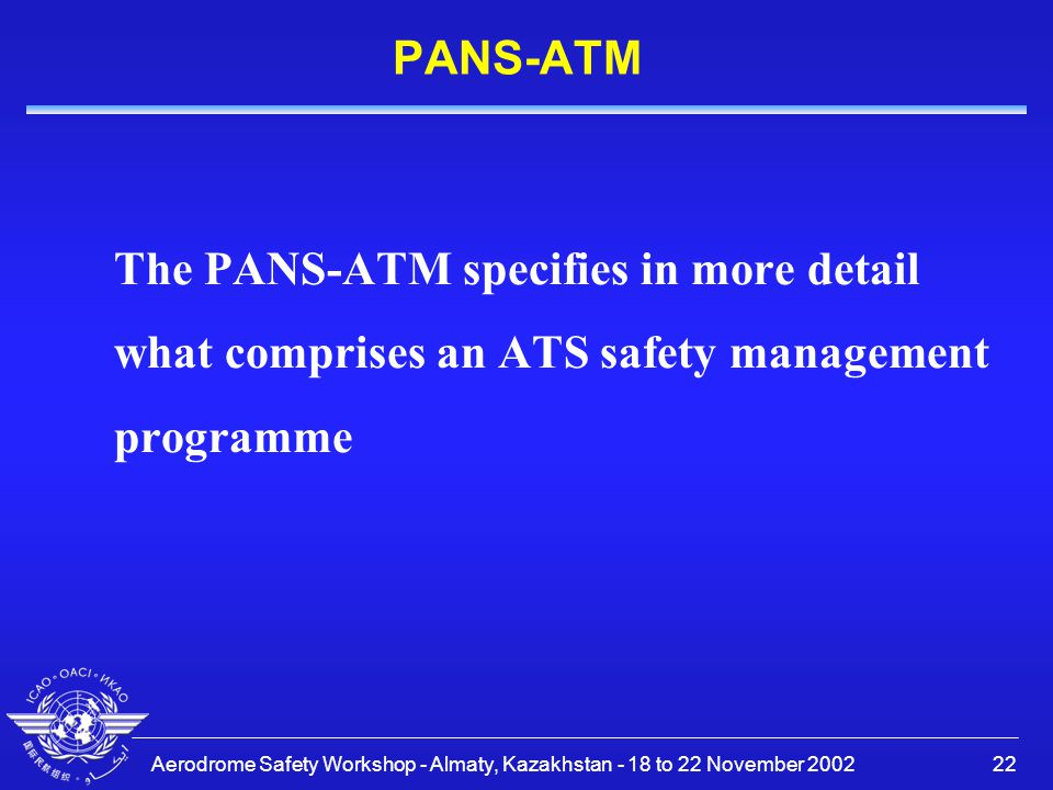 PANS-ATM The PANS-ATM specifies in more detail what comprises an ATS safety management programme.