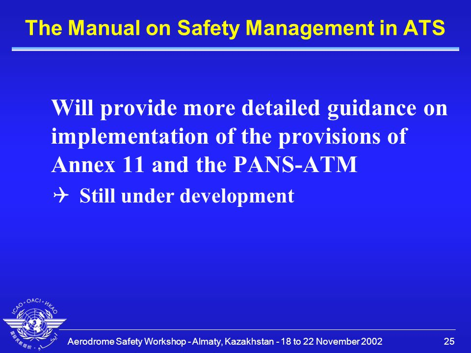 The Manual on Safety Management in ATS