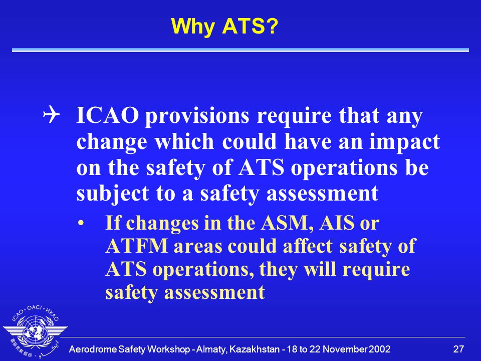 Why ATS ICAO provisions require that any change which could have an impact on the safety of ATS operations be subject to a safety assessment.