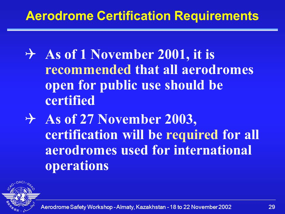 Aerodrome Certification Requirements