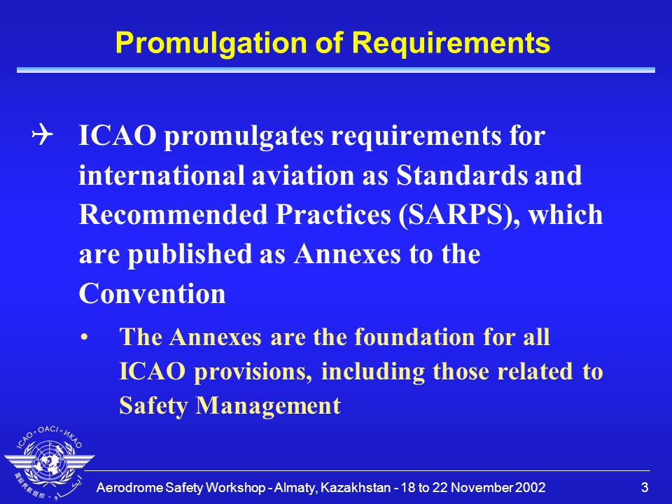 Promulgation of Requirements