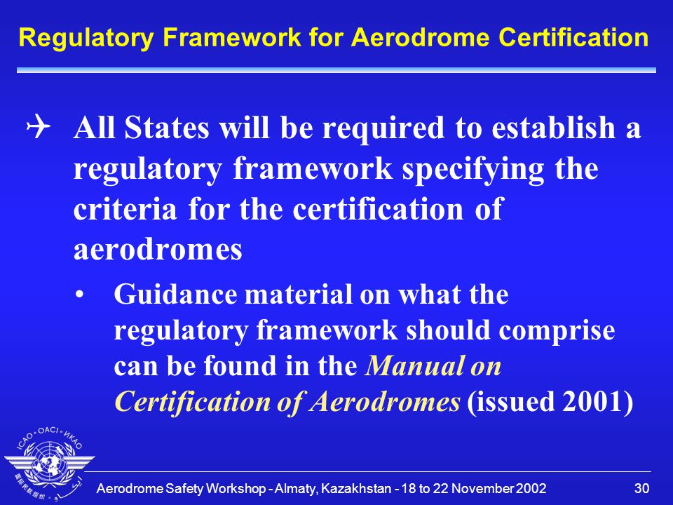 Regulatory Framework for Aerodrome Certification