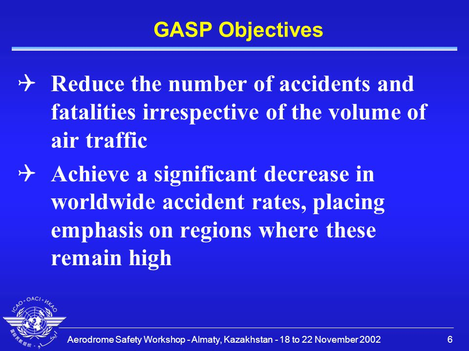 GASP Objectives Reduce the number of accidents and fatalities irrespective of the volume of air traffic.