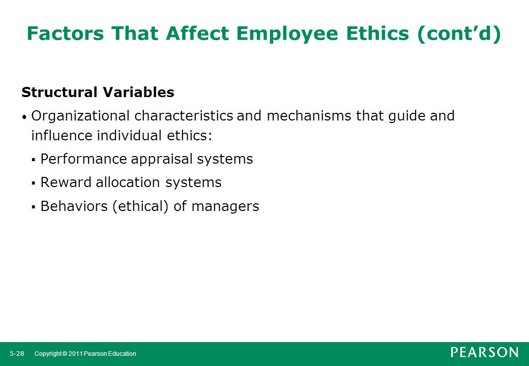 ethical factors influencing employee performance in Organizations to take care of all factors that influence employee retention instead of one or two of them  which resulted in decline in performance occupational.