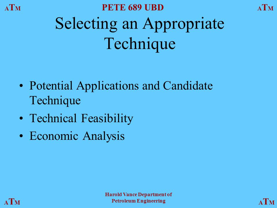 Selecting an Appropriate Technique