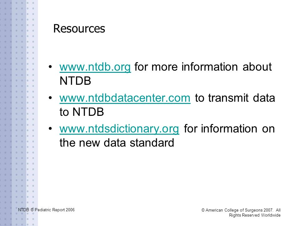 www.ntdb.org for more information about NTDB