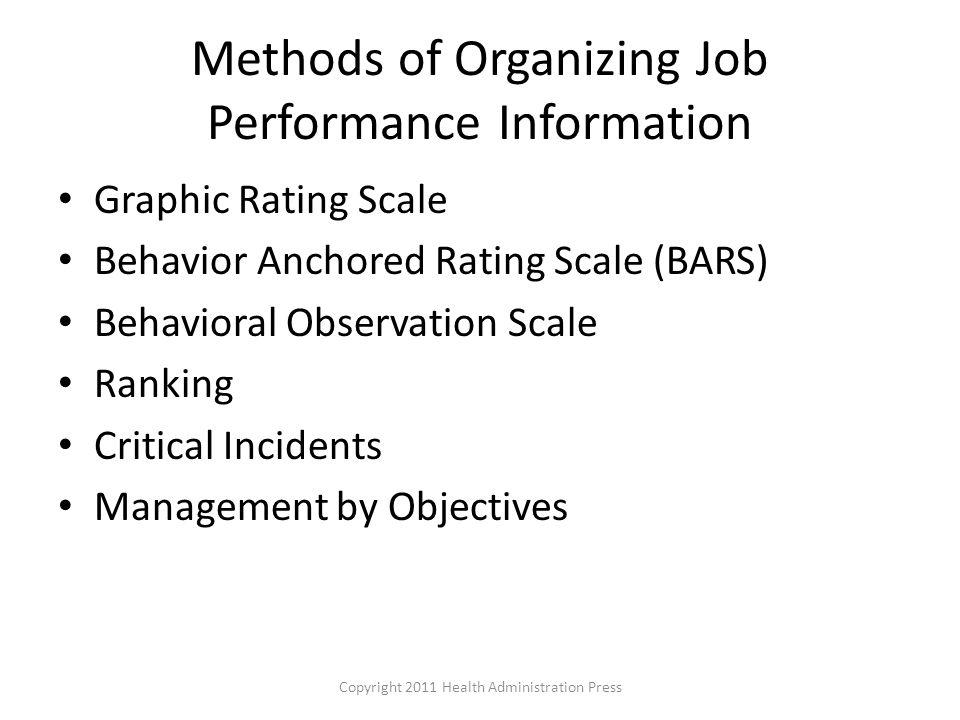 Methods of Organizing Job Performance Information