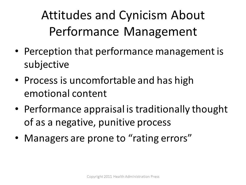 Attitudes and Cynicism About Performance Management