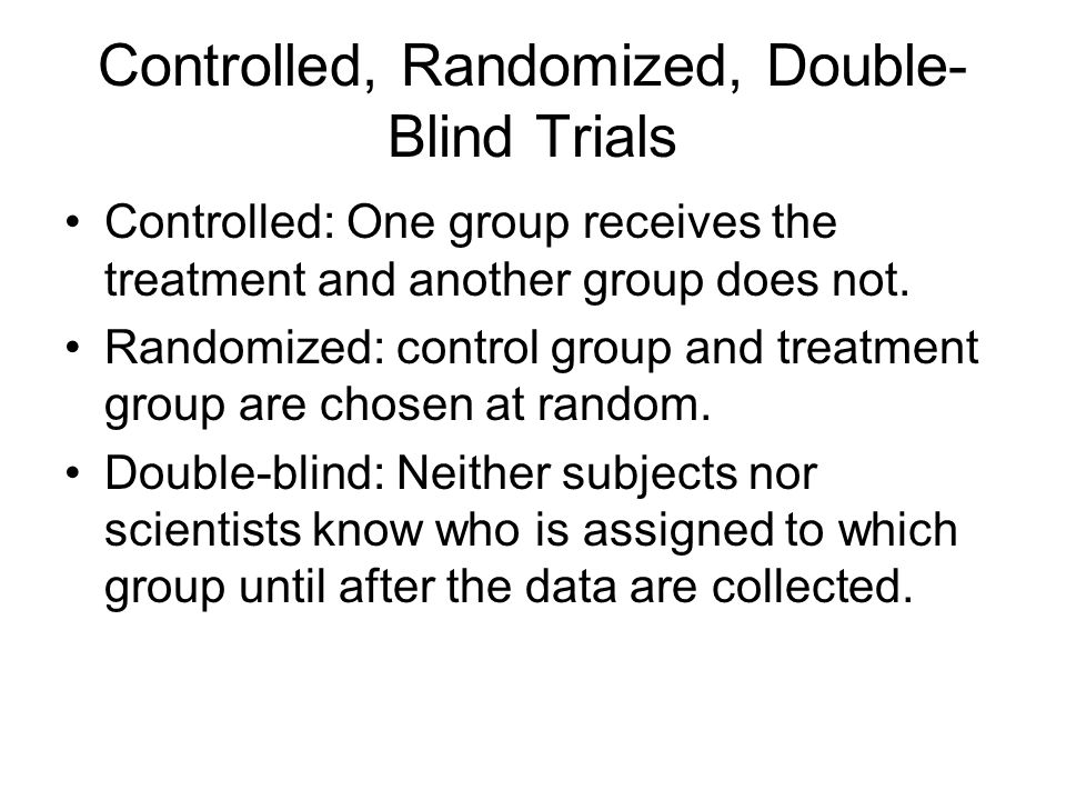 Controlled, Randomized, Double-Blind Trials
