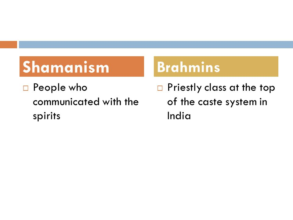 Shamanism Brahmins People who communicated with the spirits