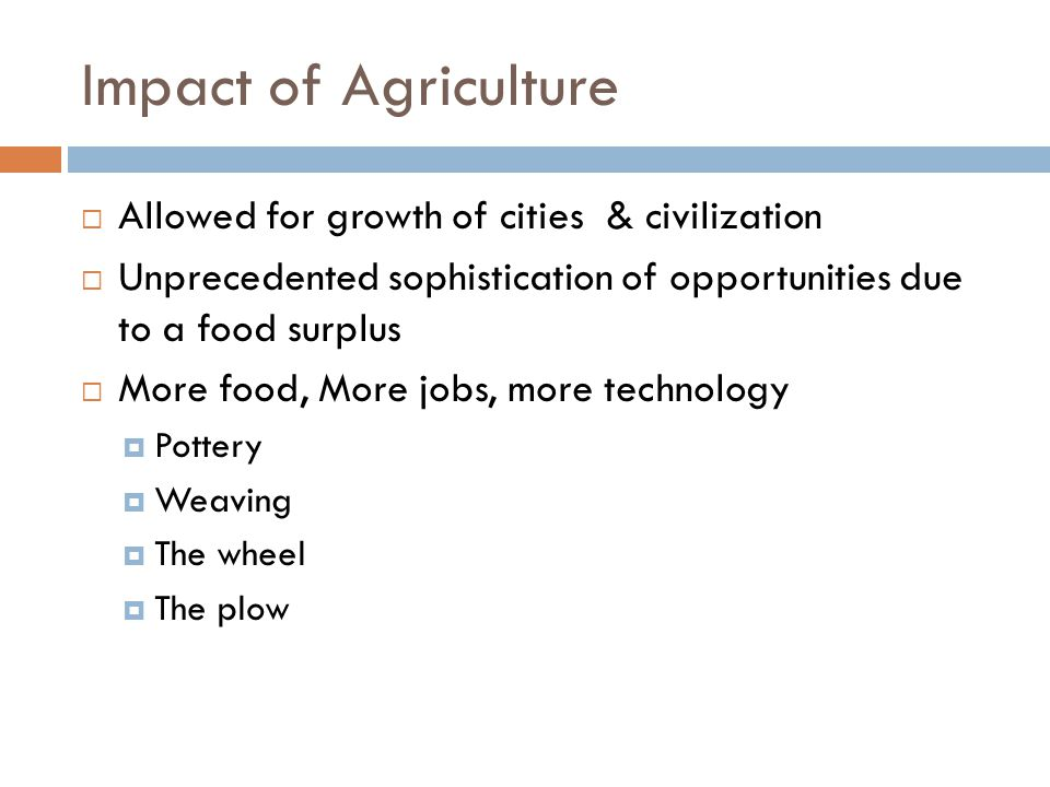 Impact of Agriculture Allowed for growth of cities & civilization