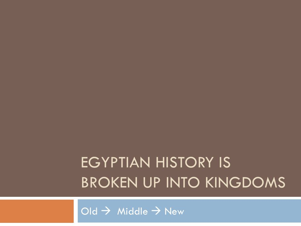 Egyptian history is broken up into kingdoms