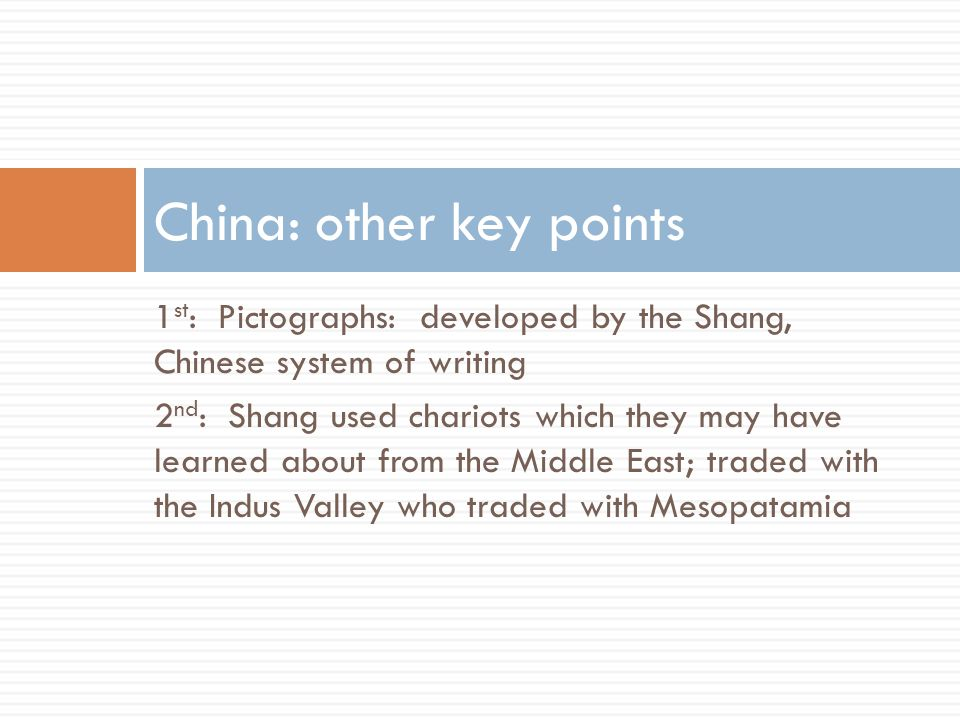 China: other key points