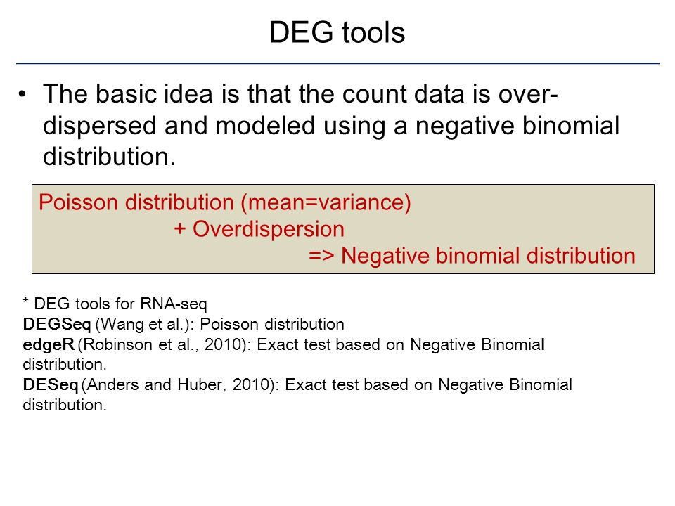 DEG tools The basic idea is that the count data is over-dispersed and modeled using a negative binomial distribution.