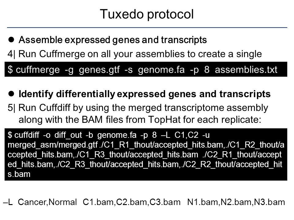 Tuxedo protocol Assemble expressed genes and transcripts
