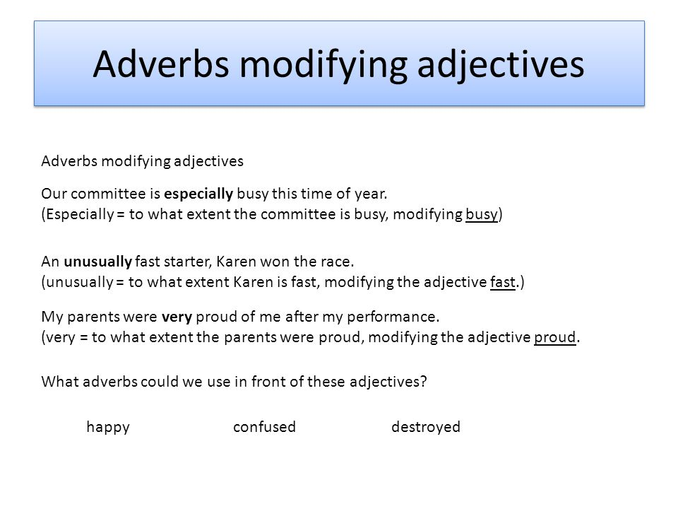 Example Of Adverb Modifying An Adjective Images Example Cover