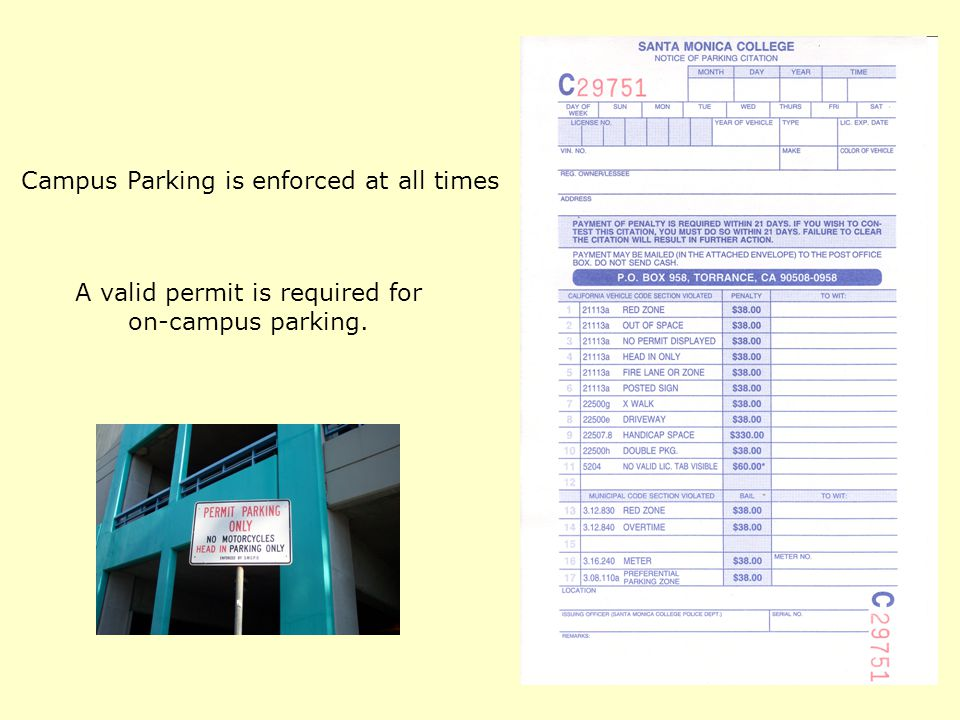 Campus Parking is enforced at all times