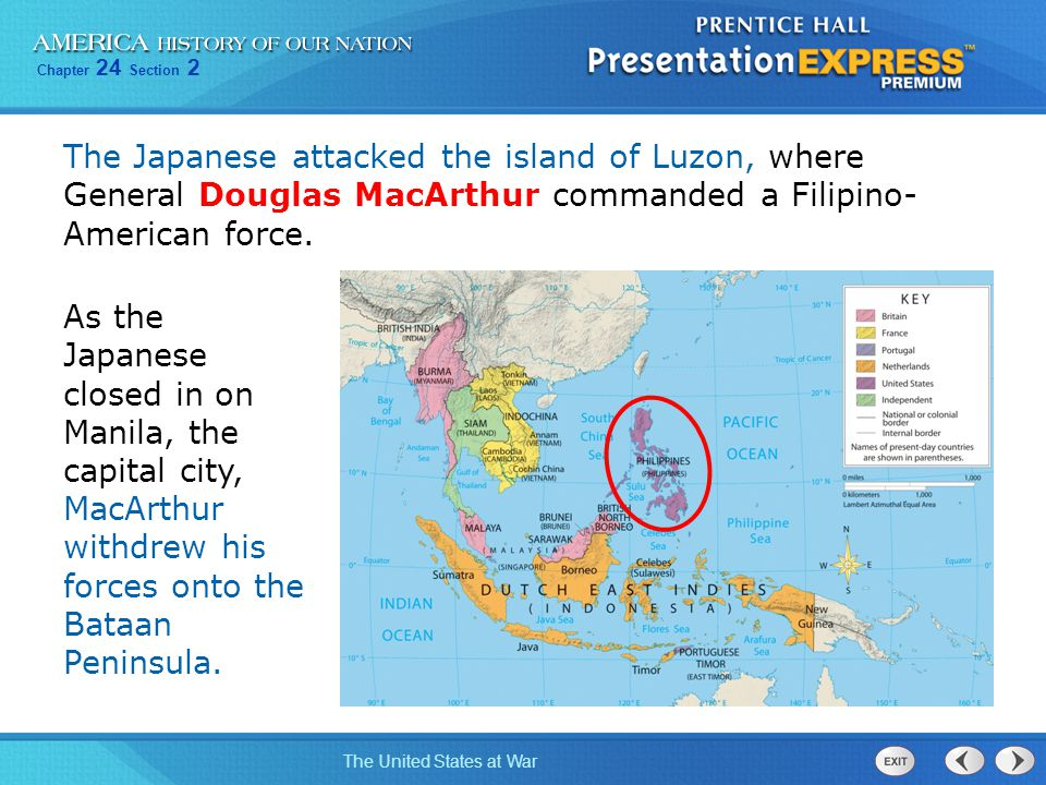 The Japanese attacked the island of Luzon, where General Douglas MacArthur commanded a Filipino- American force.