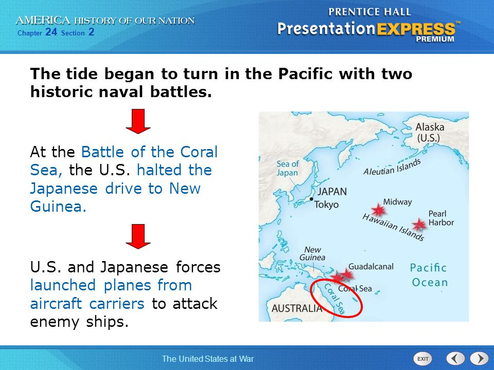 The tide began to turn in the Pacific with two historic naval battles.