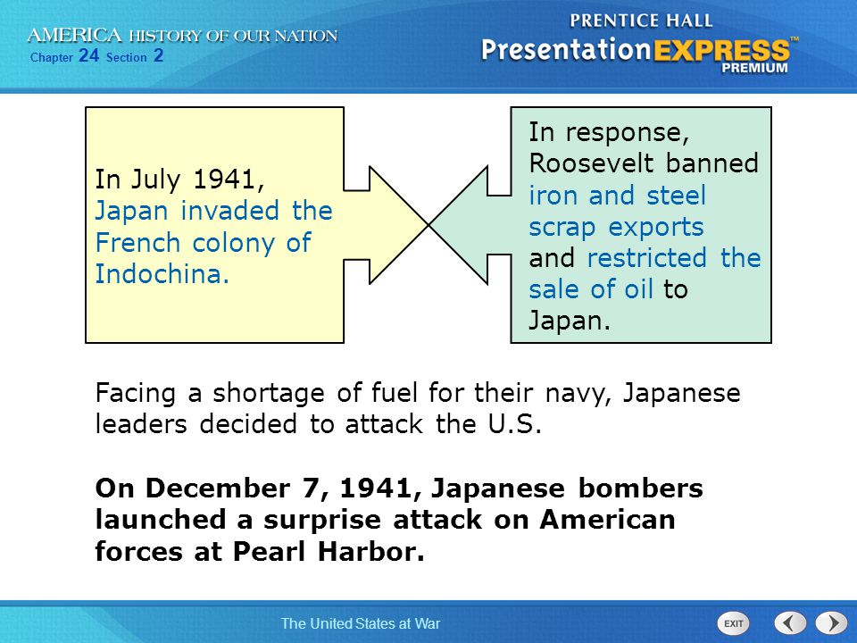In July 1941, Japan invaded the French colony of Indochina.