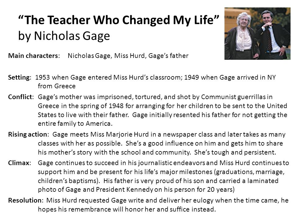 The teacher who changed my life essay by nicholas gage
