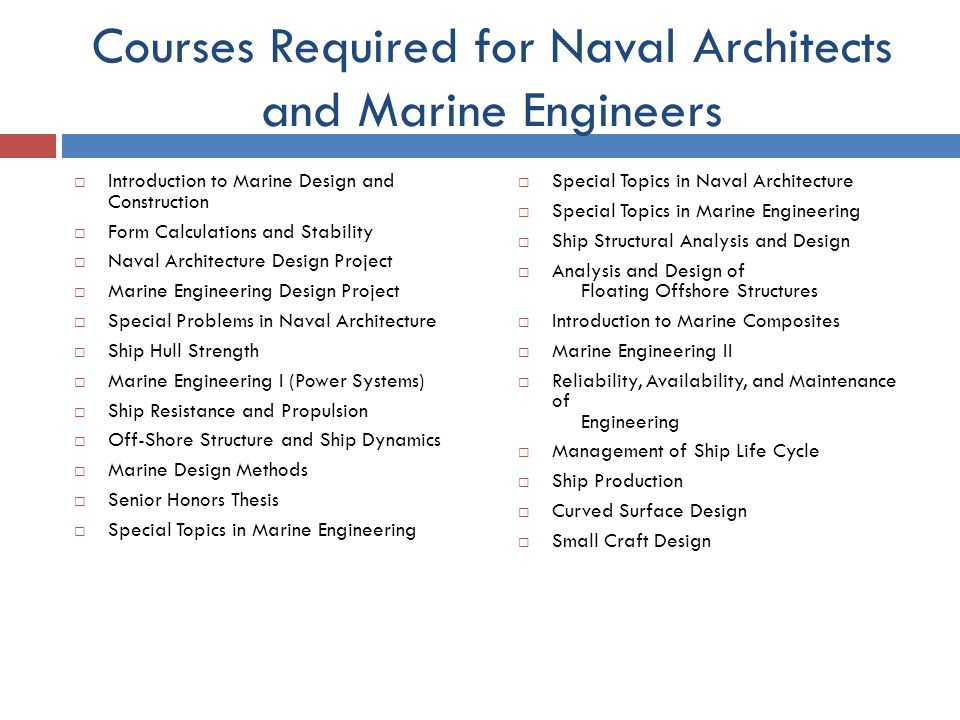 Courses Required For Naval Architects And Marine Engineers