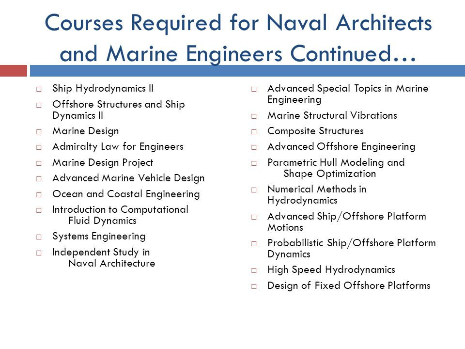 Courses Required For Naval Architects And Marine Engineers Continuedu2026