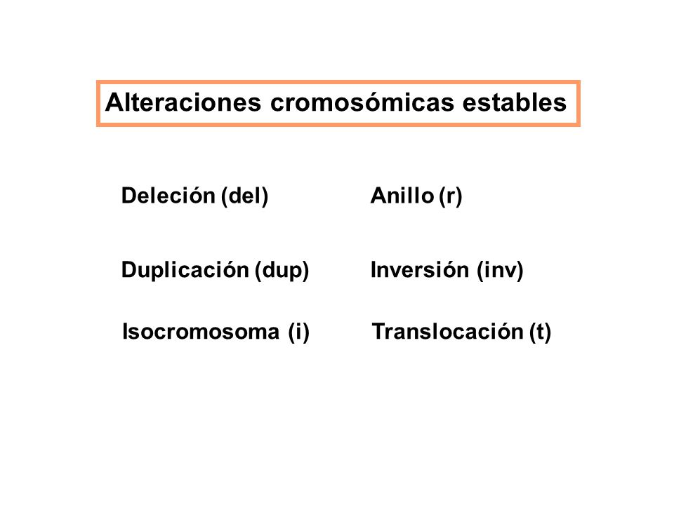 Alteraciones cromosómicas estables