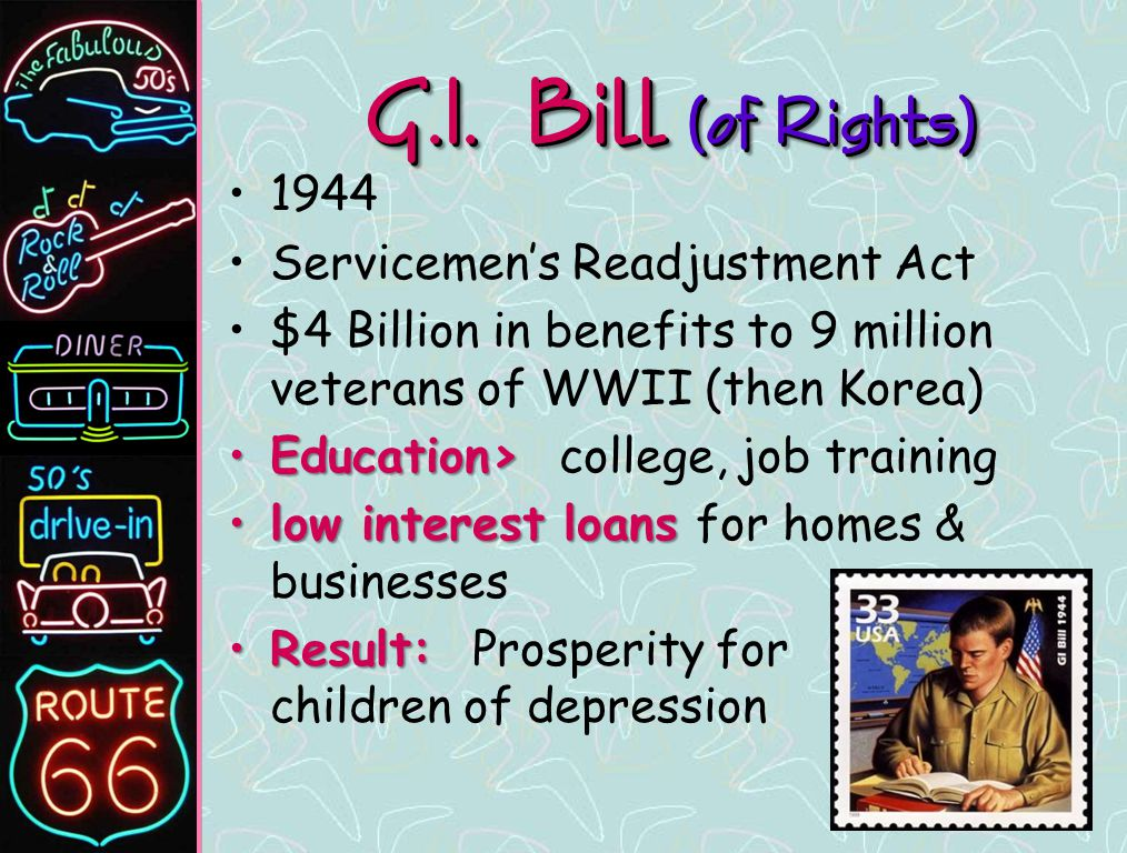 the significance of the us servicemens readjustment act of 1944 Servicemen's readjustment allowances  of the united states in world war 11 who are unemployed servicemen's readjustment act of 1944 information for ve'iœrans .