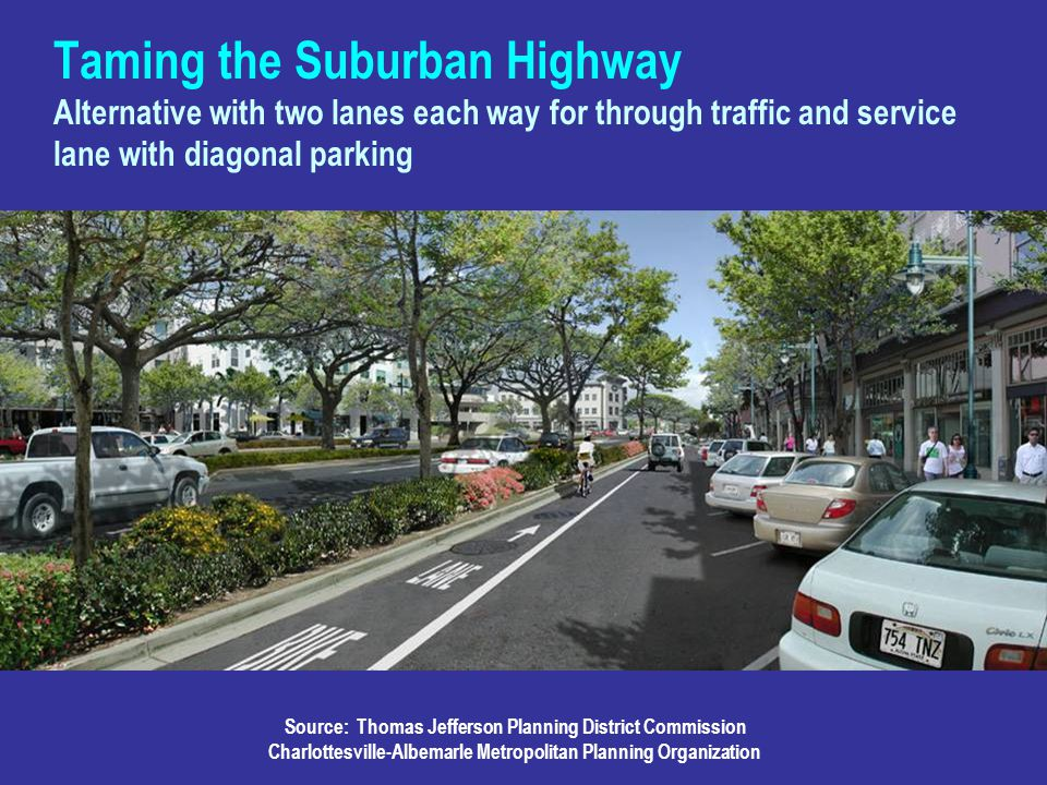 Taming the Suburban Highway Alternative with two lanes each way for through traffic and service lane with diagonal parking