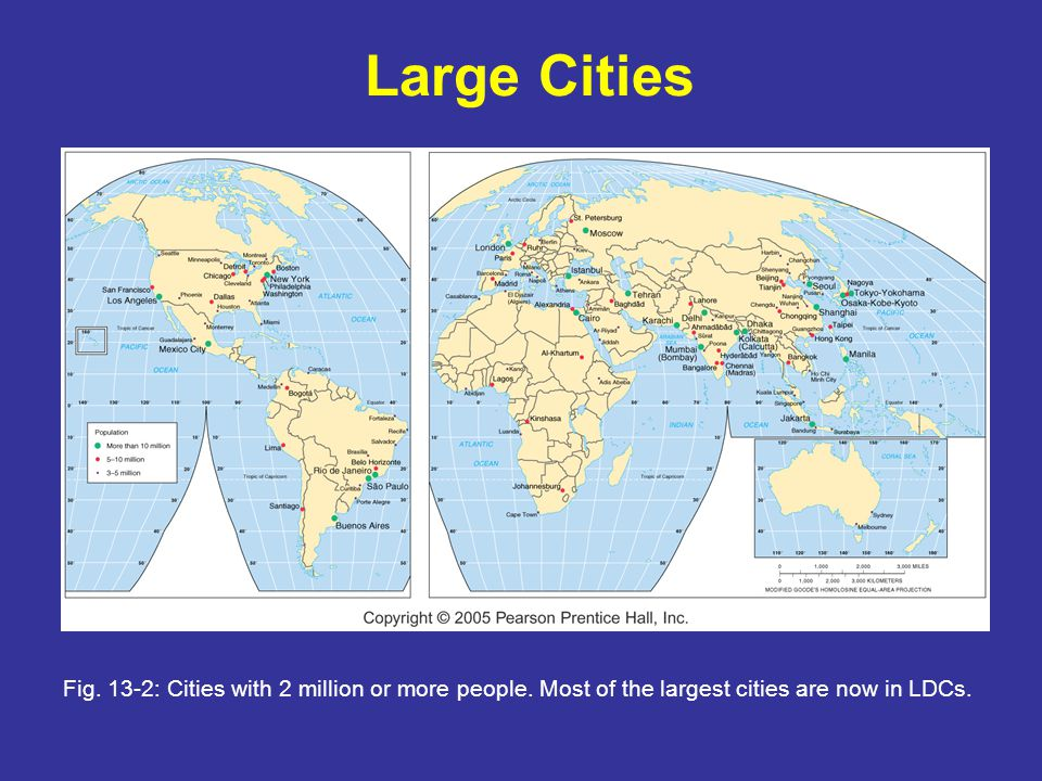 Large Cities Fig. 13-2: Cities with 2 million or more people.