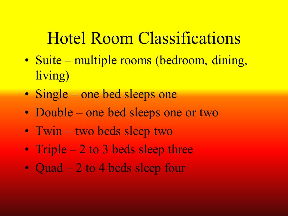 Hotel Room Classifications