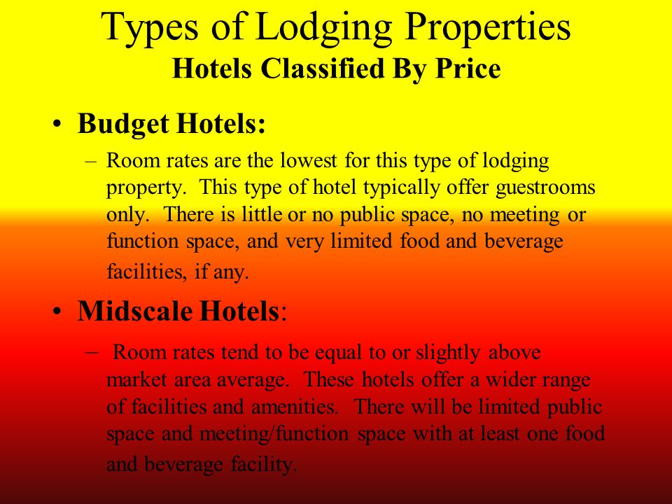 Categories and Types of Hotels - ppt download