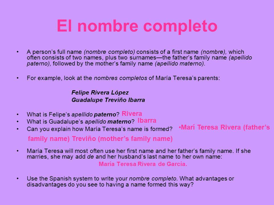 El nombre completo Rivera Ibarra Marí Teresa Rivera (father's