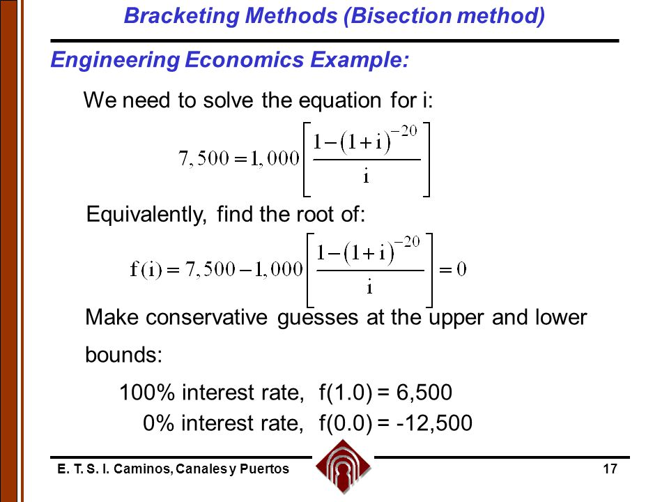 Bracketing Methods (Bisection method)