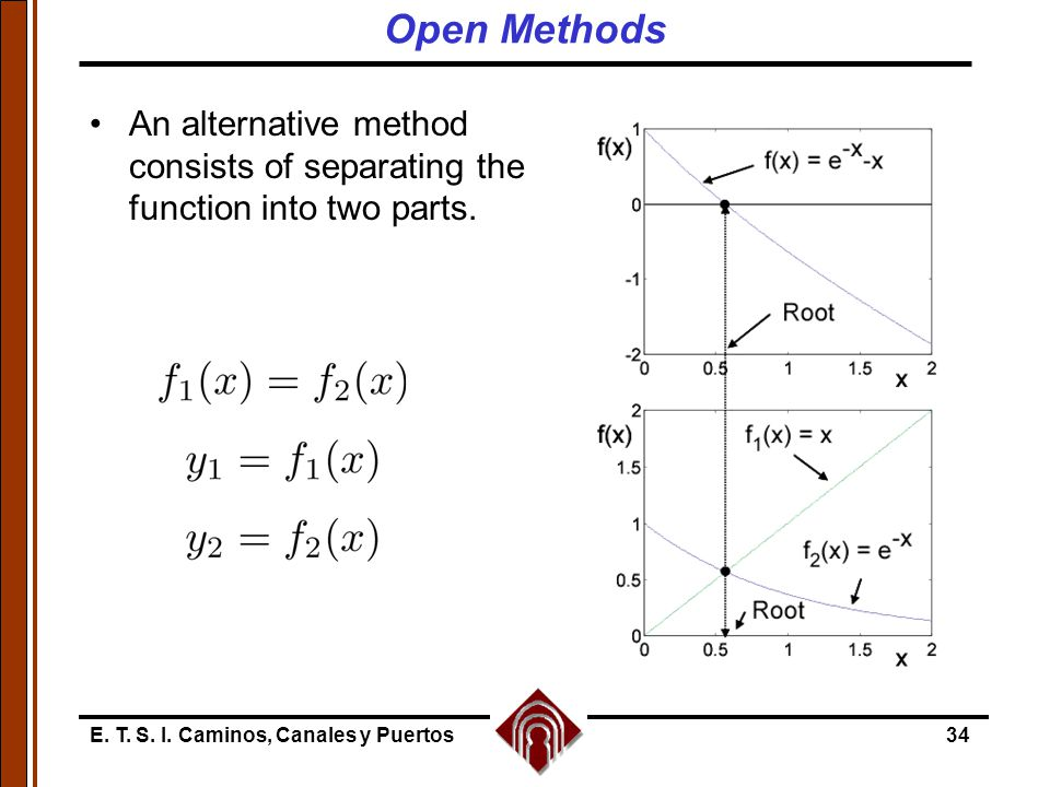 Open Methods An alternative method consists of separating the function into two parts.