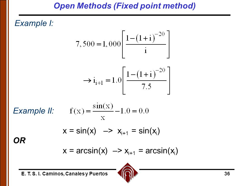 Open Methods (Fixed point method)