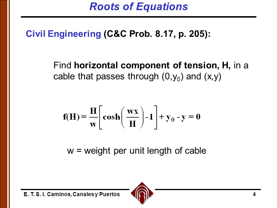 Roots of Equations Civil Engineering (C&C Prob. 8.17, p. 205):