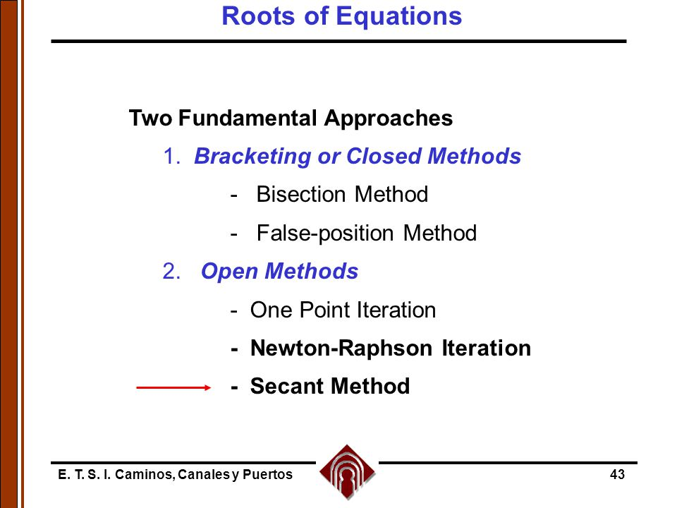 Roots of Equations Two Fundamental Approaches