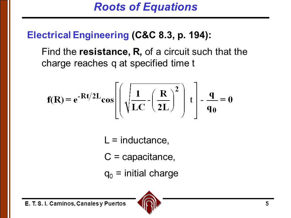Roots of Equations Electrical Engineering (C&C 8.3, p. 194):