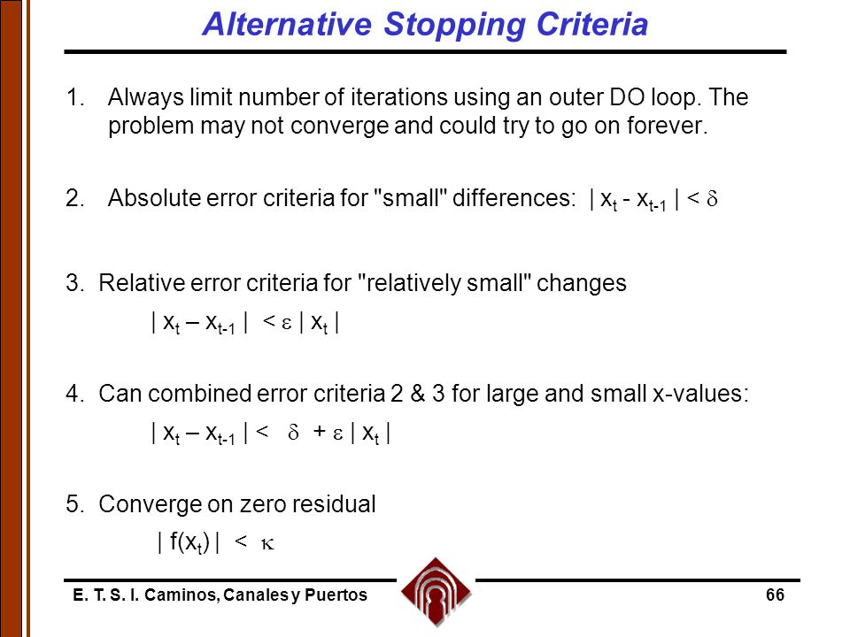 Alternative Stopping Criteria